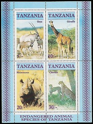 Tanzania Africa Endangered Airmail Species 4 Values Mint Ss