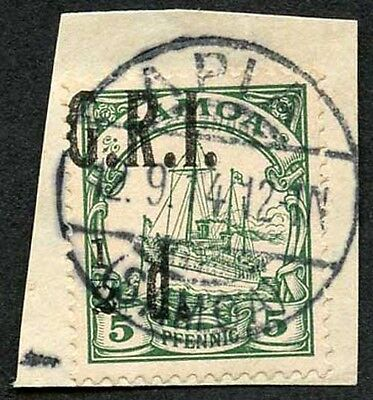 Samoa NZ Occupation SG102 1/2d (Misplaced) on 5pf Green Very Fine used on Piece