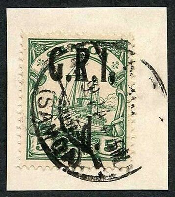 Samoa NZ Occ SG102c 1/2d on 5pf Green Comma after I Very Fine used on Piece