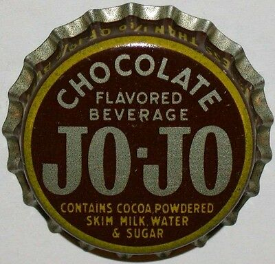 Vintage soda pop bottle cap JO JO CHOCOLATE cork lined unused new old stock nrmt