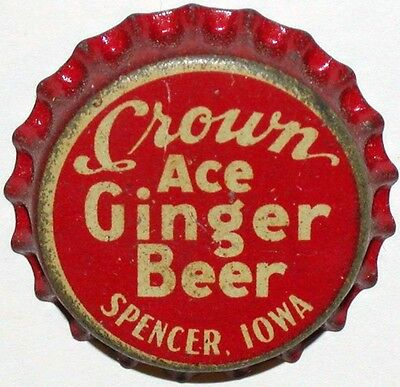 Vintage soda pop bottle cap CROWN ACE GINGER BEER Spencer Iowa cork lined unused