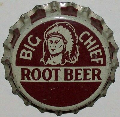 Vintage soda pop bottle cap BIG CHIEF ROOT BEER indian picture cork lined unused