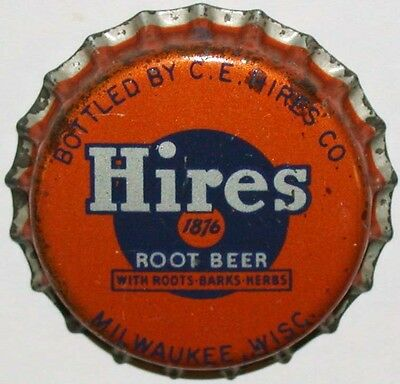 Vintage soda pop bottle cap HIRES ROOT BEER Milwaukee cork unused new old stock