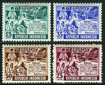 Indonesia 406-409, Mint. Independence, 10th anniv. 1955