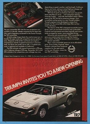 1979 Triumph TR7 TR-7 white convertible vintage magazine photo car ad
