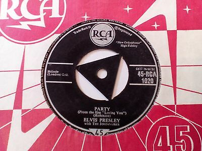 "Elvis Presley - Party/Got A Lot O Livin' To Do - UK 1957 RCA tri 7"" single"