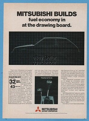 1979 Mitsubishi Colt Twin Stick Fuel Economy Vintage 1970s Japanese Import Ad