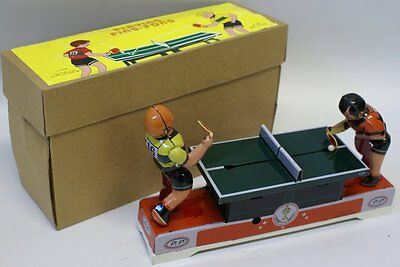 Retro Style Tin Lithographed Wind-up PLAYING PING PONG Toy #MS358 in Box