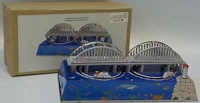 Retro Style Tin Litho Wind-up #MS431 BOAT SHIPS Under Bay Bridge Toy in Box