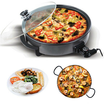 Large Multi Cooker Non-Stick Frying Pan Oven Bake Fry Roast Stew Boil Glass Lid