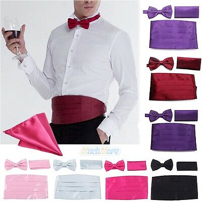 New Italian Satin Cummerbund Tuxedo Bow Tie Hanky Set Prom Wedding (Free Ship)