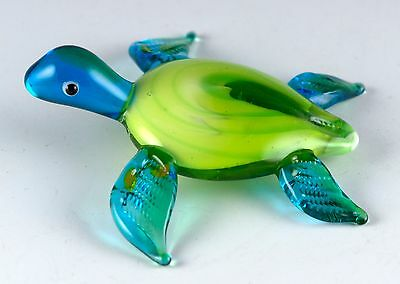 "Miniature Hand Blown Art Glass Sea Turtle Figurine 2.5"" Long New!"