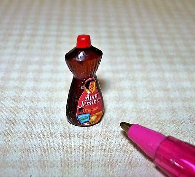 Miniature Pancake Waffle French Toast Syrup Bottle w/Red Top: DOLLHOUSE 1/12