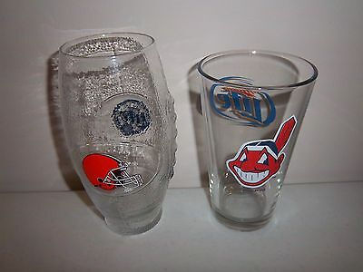 CLEVELAND BROWNS and CHIEF WAHOO MILLER LITE BEER GLASSES (GREAT CONDITION) !!!!