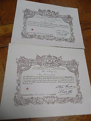 2 X Near Antique British Red Cross Society Exam Certificates From 1920 & 21