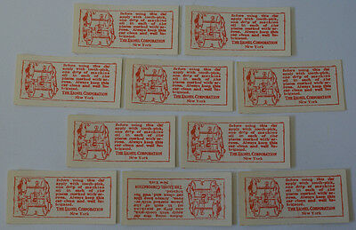 10 Vintage LIONEL Prewar Train Car Self-Adhesive Oiling Oil Instruction Labels