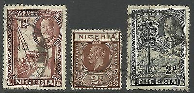 GB STAMPS (3) NIGERIA, KING GEORGE V, GOOD USED FROM BOBBLES BASEMENT @ 90p