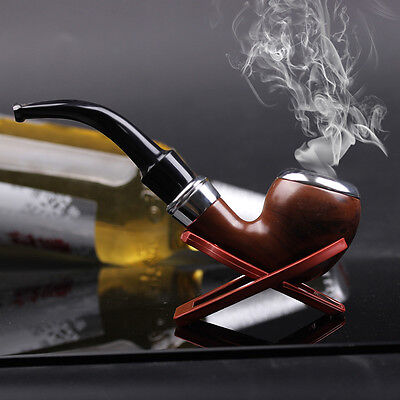 Dark Red Durable Plastic Wood Smoking Pipe Tobacco Cigarettes Cigar Pipes
