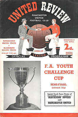MANCHESTER UNITED v BLACKBURN ROVERS  YOUTH CUP SEMI FINAL 1958/9