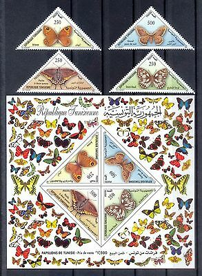 Tunisia 1259-1263, MNH, Insects Butterflies 2001. x28025