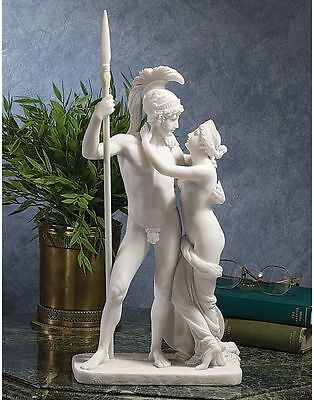 Neoclassical Greek War God Ares & Love Goddess Aphrodite Bonded Marble Statue