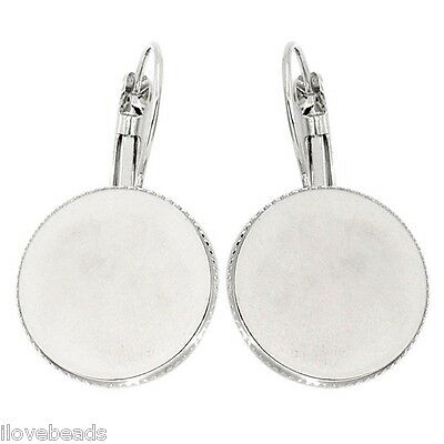 """30PCs Earring Hook Findings Cabochon Setting Round Silver Tone 1 2/8""""x 6/8"""""""