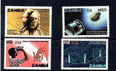 Zambia (792) 1987 Appearance of Halley's Comet overprinted set Surcharge Unmount