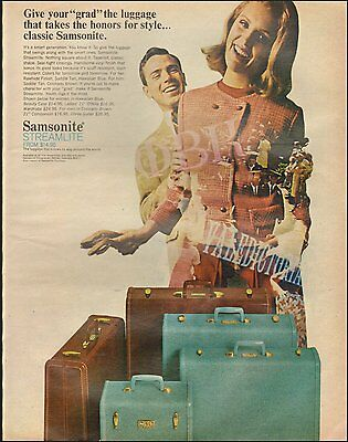 1966 Vintage ad for Samsonite Streamlite Luggage. Photo Blonde Model (083016)