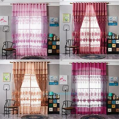 Floral Tulle Sheer Voile Door Window Curtain Drape Panel Sheer Scarf Valances