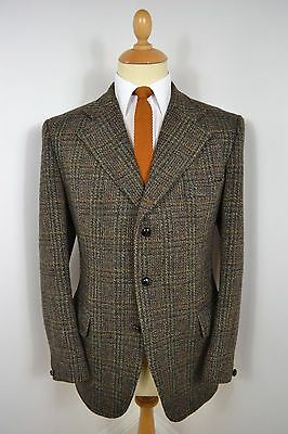 VINTAGE 1960's HARRIS TWEED DUNN CO GREEN CHECK WOOL BLAZER JACKET LARGE 42 REG