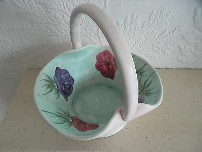 Vintage E Radford Hand Painted 'Anemone' Pottery Basket