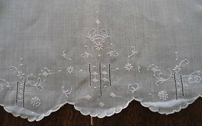 Vintage Madeira Linen Curtain Panel Hand Embroidered Cotton Lawn Sheet