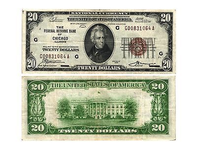 1929 $20.00 U.S. Federal Reserve Bank Note CHICAGO, Il. (G)(7) FR# 1870-G VF