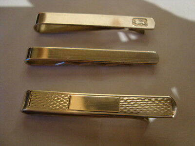 3 Lovely Hallmarked Silver Tie Clips Engined Turned Plain Assay Lion