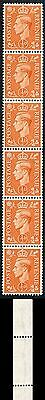 KGVI 1/2d Orange Coil Strip with EXTRA LINE WMK on two stamps U/M