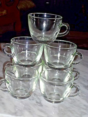 Crystal Punch Cups Set of 7 Clear Glass Vintage IBM