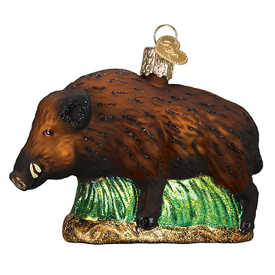 """Wild Boar"" (12500)X Old World Christmas Glass Ornament w/OWC Box"