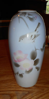 Beautiful Asian Vase Light Blue With Bird & Cherry Blossom Dogwood ? 9.75in