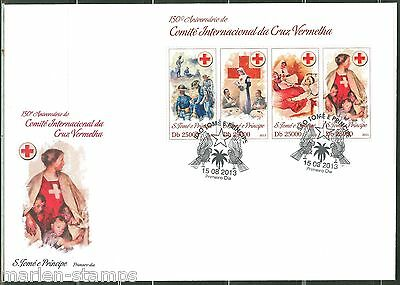 SAO TOME 2013 150th ANNIVERSARY OF THE RED CROSS  SHEET FIRST DAY COVER