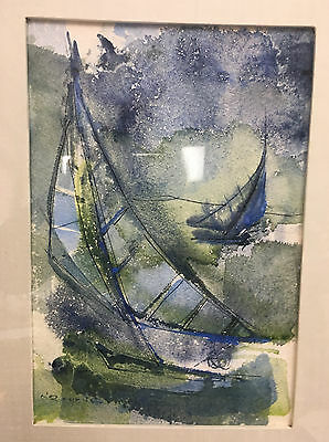 Sailboat Kathleen O'Rourke Watercolor Painting San Diego Lovely Framed Boats