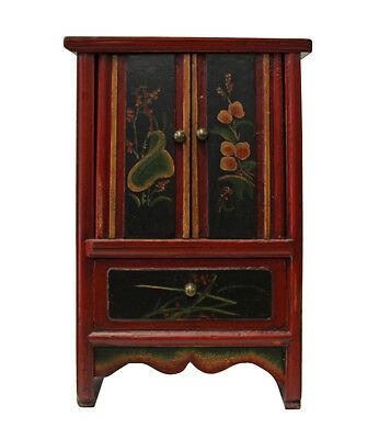 Vintage Chinese Mini Small Chest Cabinet with Red Golden Carving cs2838
