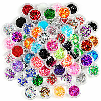 80 Pots  Sparkle Glitter Dust Powder Rhinestones Nail Art Decoration Set Kit Uk