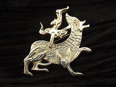 Large Sterling Silver Brooch 'The Maeshawe Dragon'  probably Ortak unusual marks