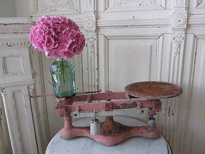 FABULOUS Old CAST IRON DOUBLE SCALE Great for Display PINK Chippy Patina
