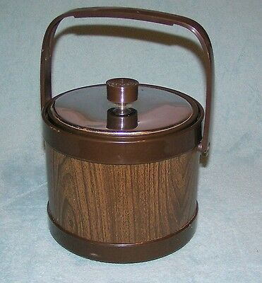 Vintage ATAPCO Made In USA ICE BUCKET Wood Tone Brown/Chrome Container