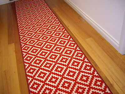 Hallway Runner Hall Runner Rug Modern Red 3 Metres Long FREE DELIVERY 98543