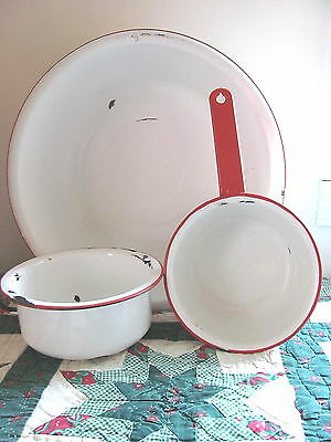 Vintage Enamelware White With Red Trim Chamber Pot Wash Basin & Sauce Pan