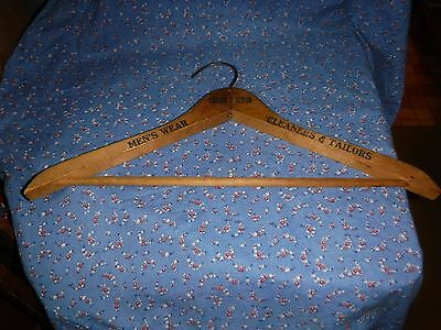 """Vintage Clothes Hanger Wood Carlson & Benson Men's Wear Cleaners & Tailors 17"""" W"""