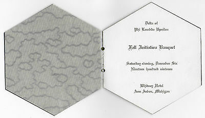 PHI LAMBDA EPSILON 1919 Initiation Banquet Invitation Bklt. ANN ARBOR MICHIGAN