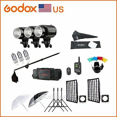 GODOX 3X E300 Studio Strobe Monolight Flash Head Softbox FT-16 Trigger Bulb